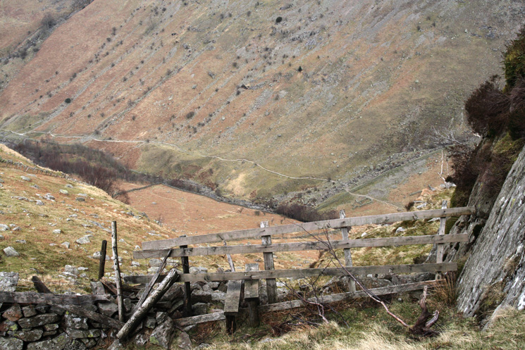 The stile above Bleak How with Greenup Gill now far below
