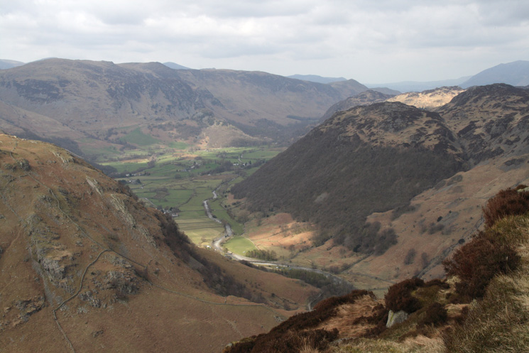The Stonethwaite valley from high up on Eagle Crag