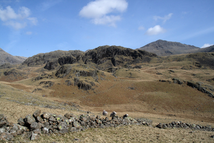 ...and ahead. We went to the right of Long Crag (centre) before heading left up Esk Pike's south ridge