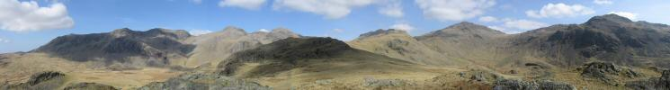 Northerly panorama from Low Gait Crags (Slight Side to Crinkle Crags)