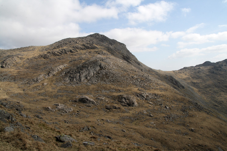 Bowfell with Three Tarns col on the right