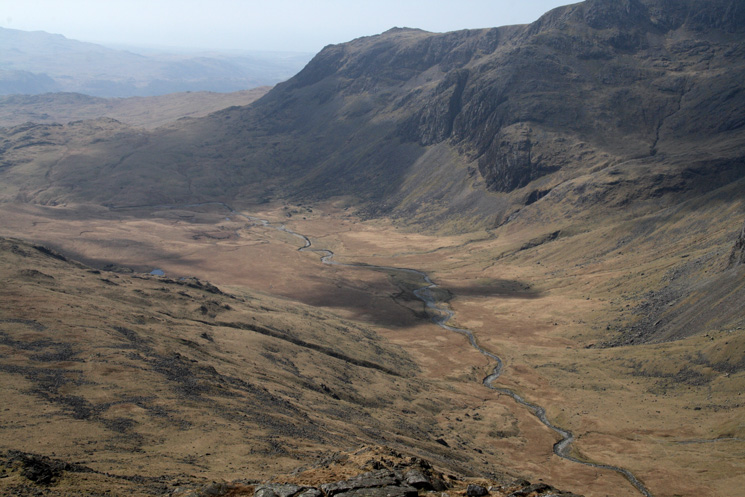 Looking down on the Great Moss from Pike de Bield's summit