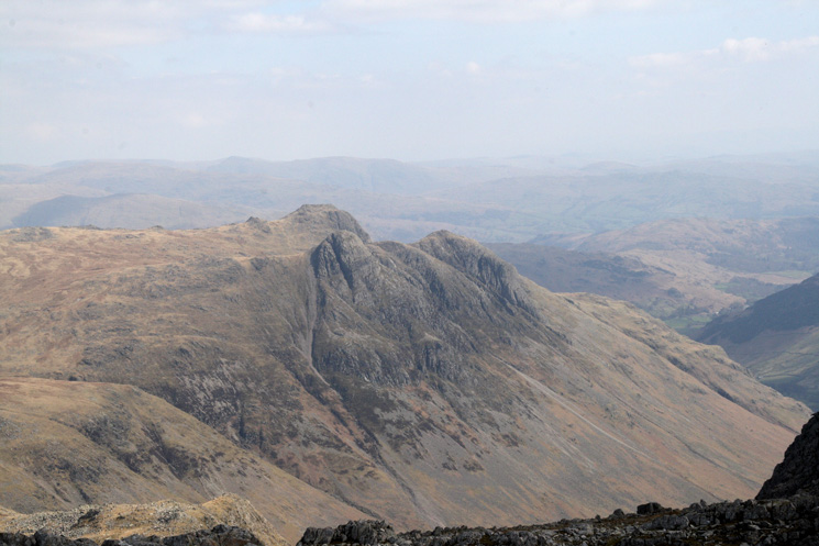The Langdale Pikes from Esk Pike's summit