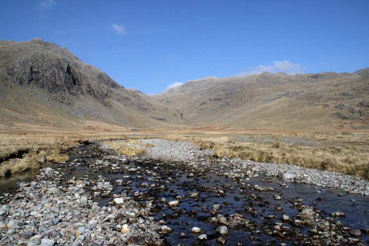 Great Moss with Pen in front of Ill Crag on the left and Esk Pike on the right