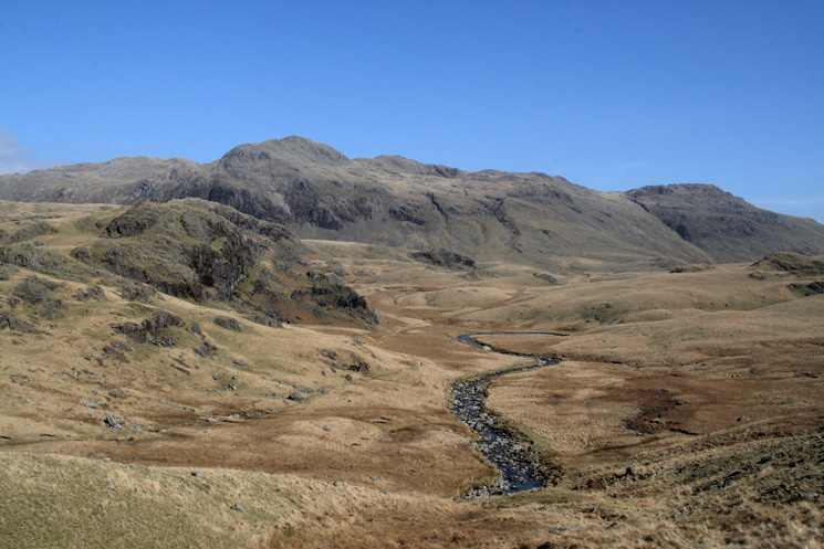 The River Esk passing Scar Lathing with Crinkle Crags behind