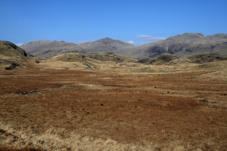 Looking back to Esk Pike, Bowfell and Crinkle Crags
