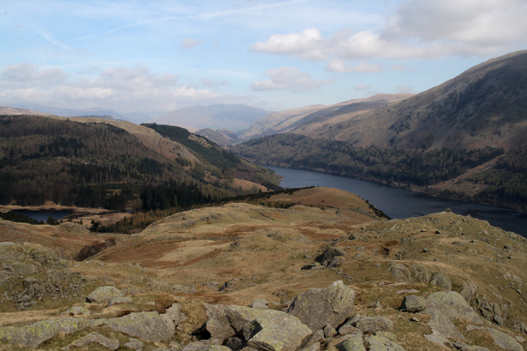 Looking back down on Harrop Tarn (far left), Beacon (far right) and Thirlmere