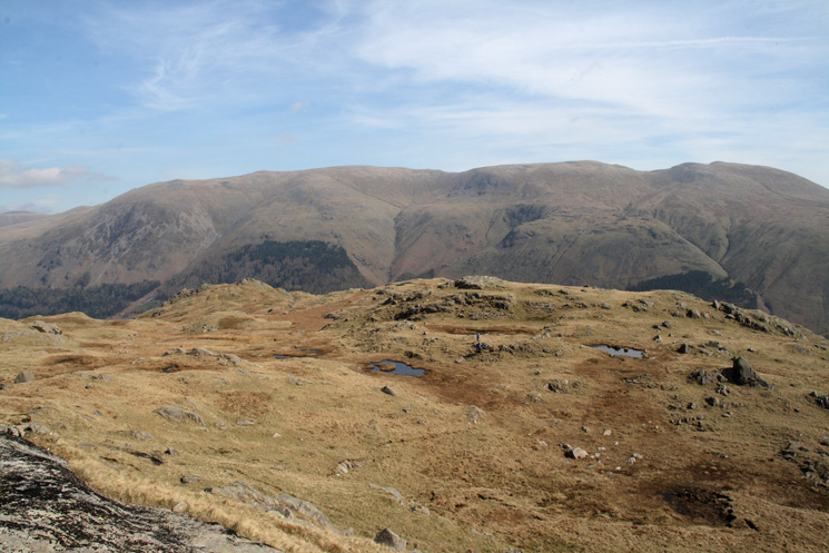 Looking back at our route across the Wythburn Fells with the Helvellyn ridge beyond