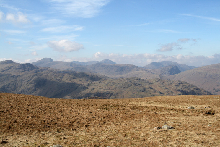 Great Gable, Pillar and the High Stile ridge on the skyline from Ullscarf's summit