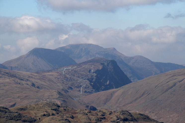 Zooming in on Honister Crag (Fleetwith Pike) with the High Stile ridge behind