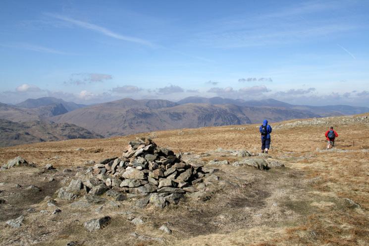 The north western fells as we leave Ullscarf's summit heading north