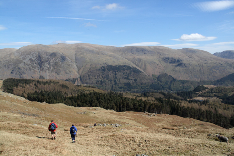 Heading back down to Harrop Tarn with the Helvellyn ridge beyond