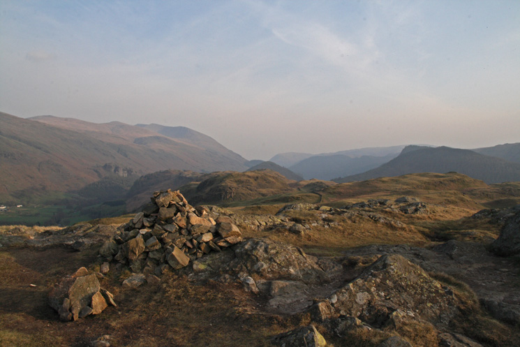 The view south from High Rigg's summit with the Helvellyn fells on the left