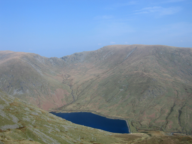 Looking over Kentmere Reservoir to Nan Bield Pass and Harter Fell