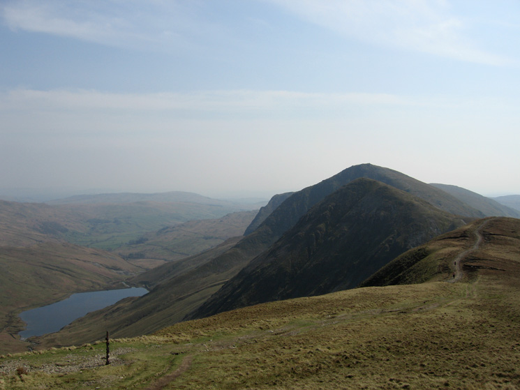 Kentmere Reservoir and the Ill Bell ridge from our ascent of Thornthwaite Crag