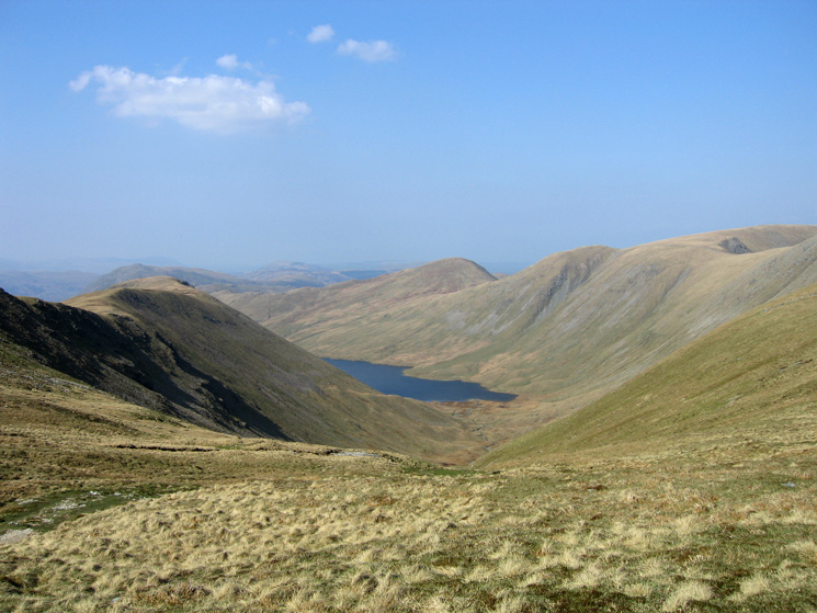 Hayeswater with Gray Crag on the left and Rest Dodd, The Knott, Rampsgill Head and slopes of High Street on the right