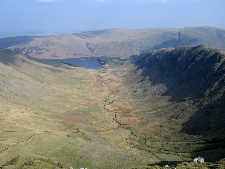 Riggindale leading to Haweswater with Rough Crag on the right from Short Stile