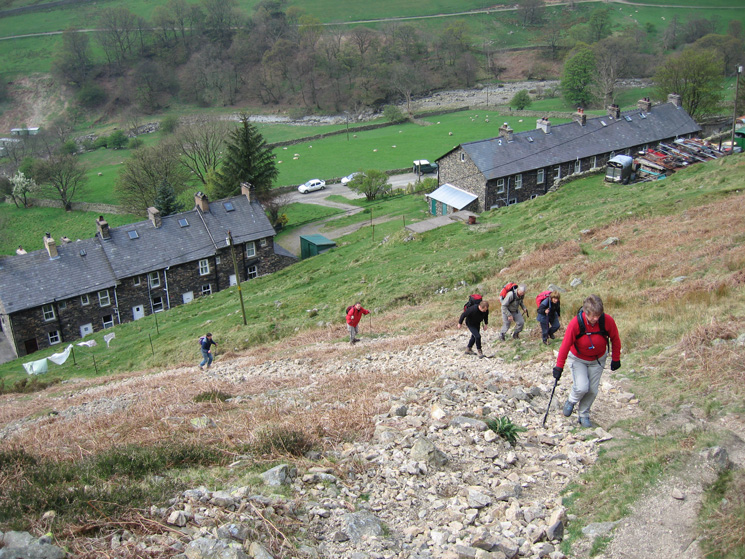 Climbing above Rake Cottages