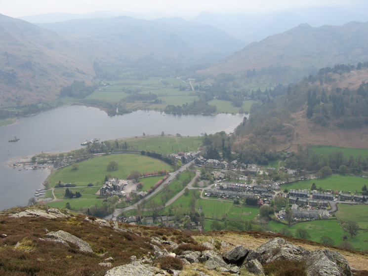 Looking down on the village of Glenridding and the head of Ullswater