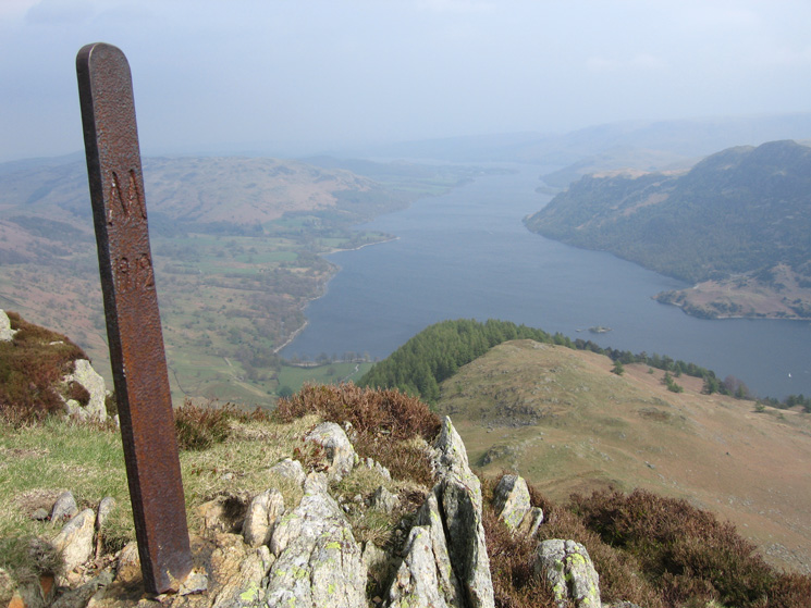Boundary post at Heron Pike's summit, 'M' for the Marshall estate of Patterdale