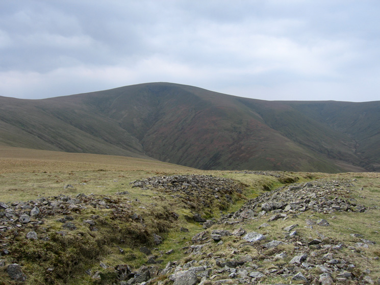 Stybarrow Dodd from the prospectors' trial trench on Hart Side's summit