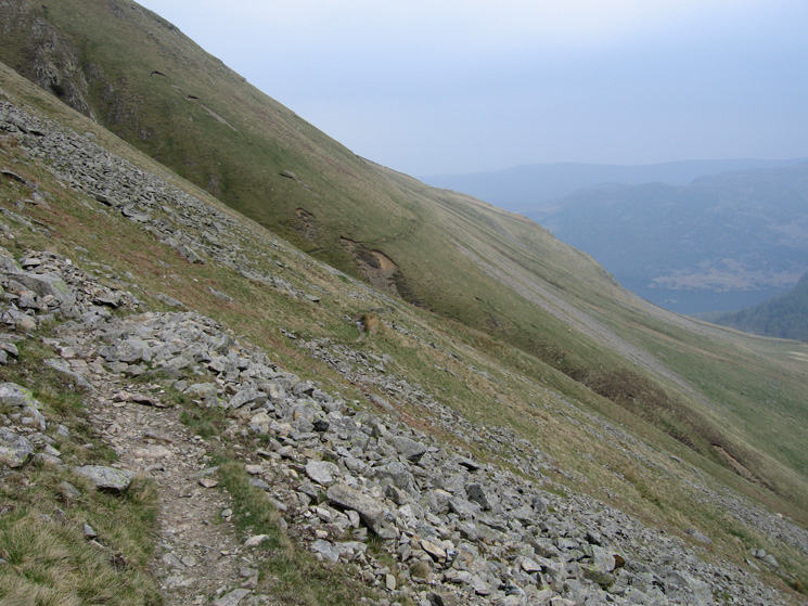 Looking back along the balcony path, an old miners route round the head of Glencoyne