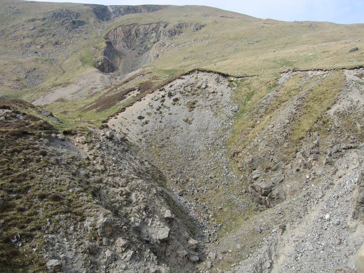 Looking up at the galleries, our ascent route had been from Nick Head (off photo right) up the skyline