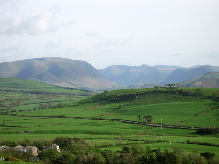 Grasmoor, the Lorton valley with High Stile and Red Pike beyond, Mellbreak and the slopes of Fellbarrow with Slate fell in the foreground