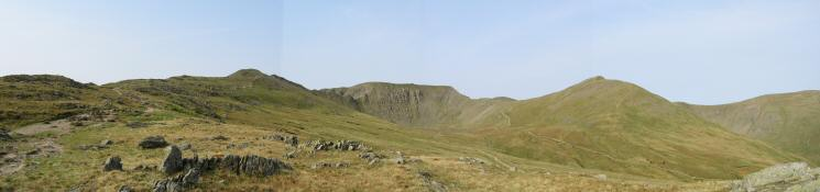 The path to Striding Edge on the far left, Helvellyn and Catstycam from near the Hole-in-the-Wall