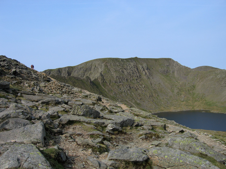 Helvellyn and Red Tarn as we head up the path to Striding Edge