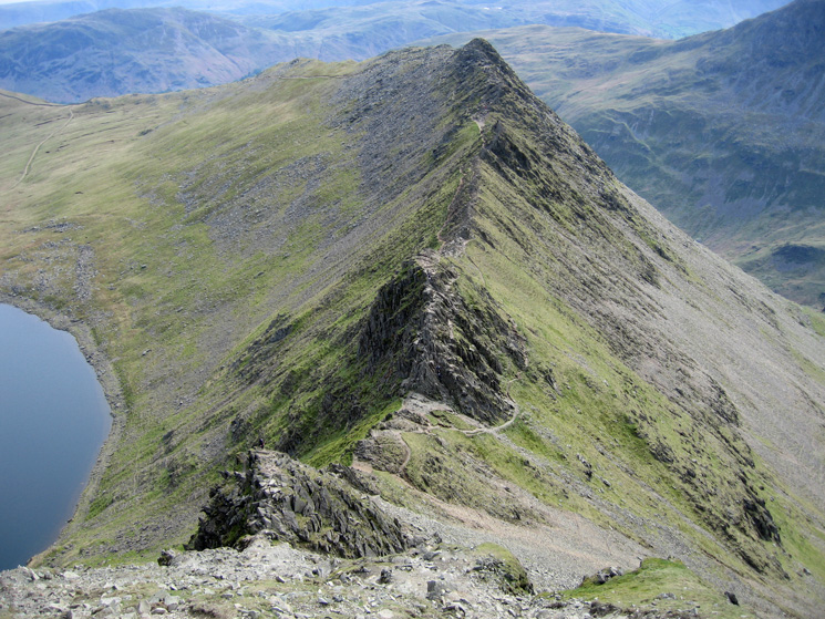 Looking back down on Striding Edge as we head for Helvellyn's summit