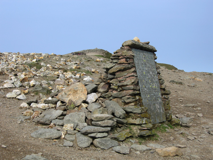 The Gough Memorial above Striding Edge with Helvellyn's summit behind