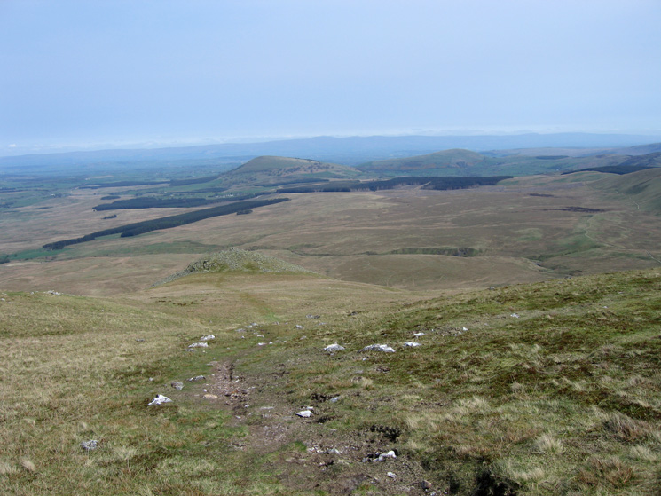 The path to White Pike with the north Pennines beyond Great Mell Fell and Little Mell Fell