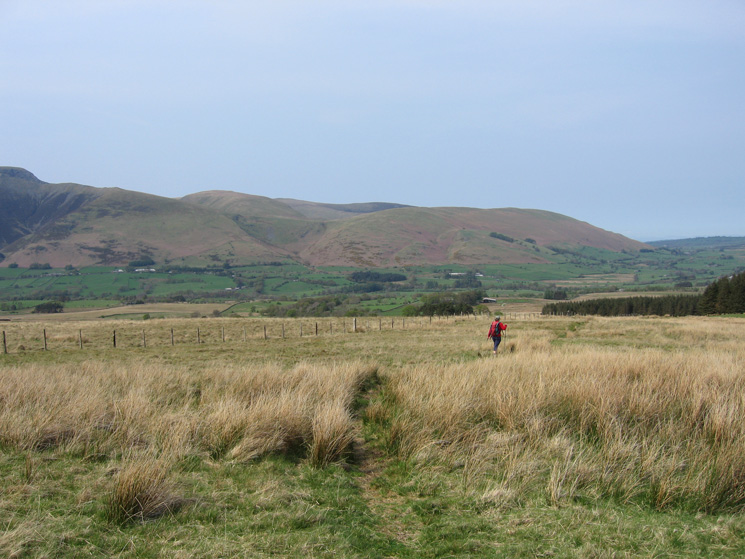 On the bridleway to Lobbs with Bannerdale Crags and Souther Fell ahead
