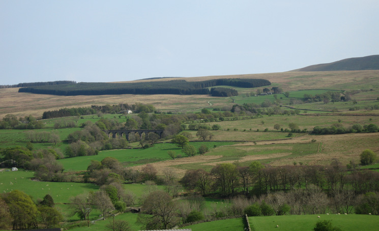 Mosedale Viaduct from Scales, Lobbs is just to the right of the large block of woodland and the white house behind the viaduct  is Highgateclose