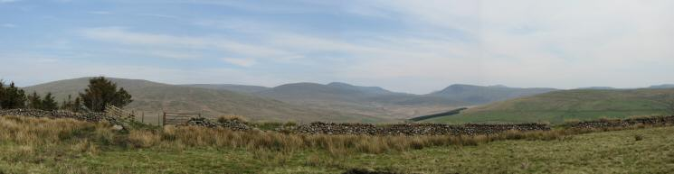 Easterly panorama from Cold Fell's summit