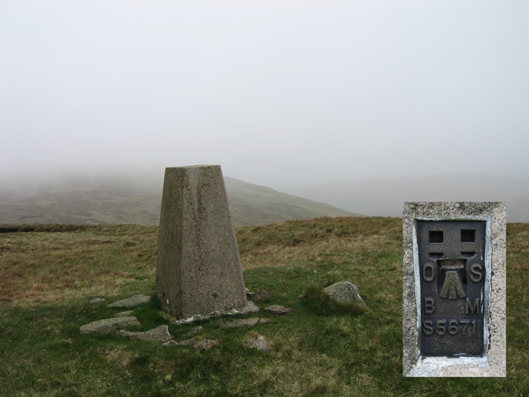 The trig point at White Howe's summit