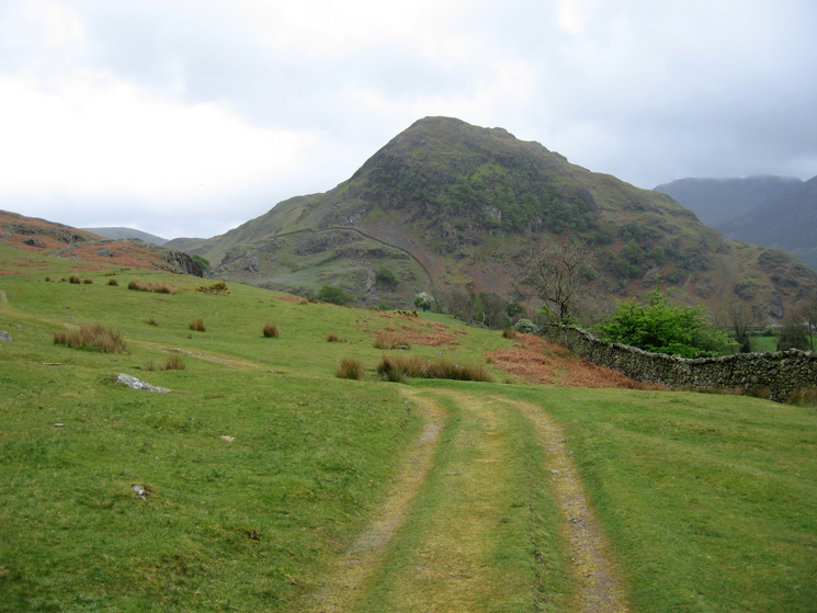 The track to Rannerdale from Cinderdale Common with Rannerdale Knotts ahead