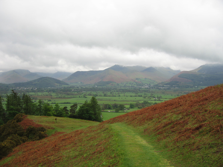 Looking towards the north western fells from the track above Slades Beck