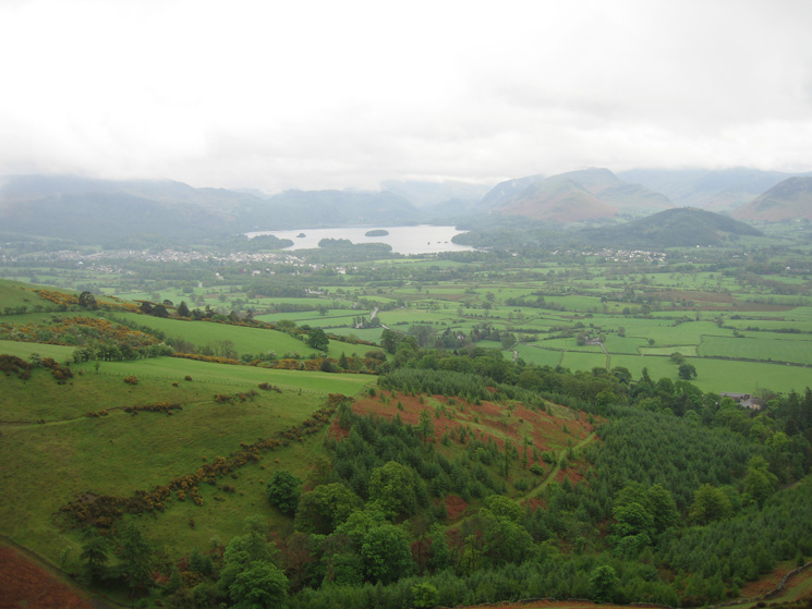 Derwent Water and Keswick come into view as we gain height ascending Carsleddam