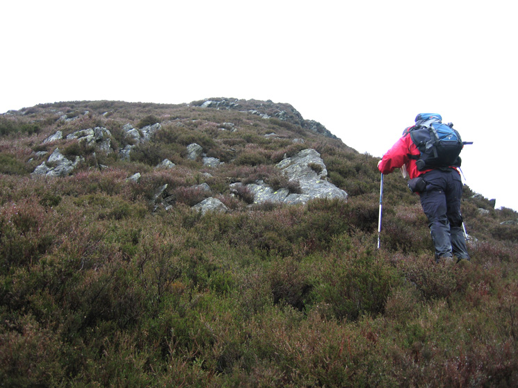 This photo just does not show how deep and wet the heather was on our steep ascent of Carsleddam. The only clue is the wetness of David's trousers
