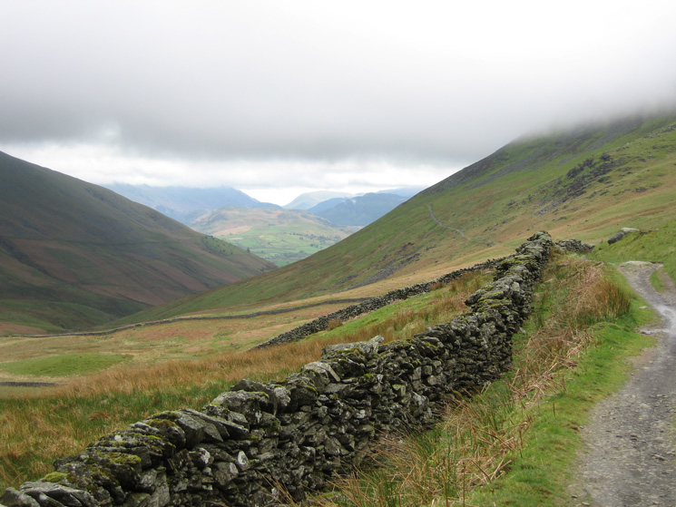 On the Cumbria Way with Lonscale Fell on the right and Blease Fell (Blencathra) on the left