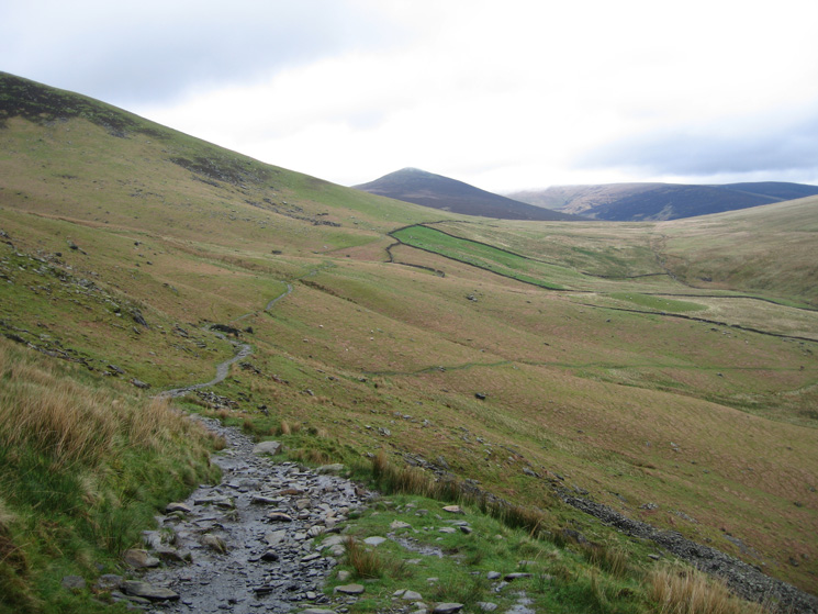 Looking back along the Cumbria Way with Great Calva (the pointed peak) in the distance