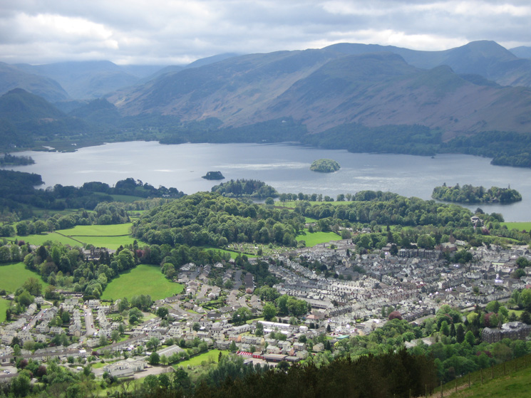 Derwent Water and Keswick from Latrigg's summit