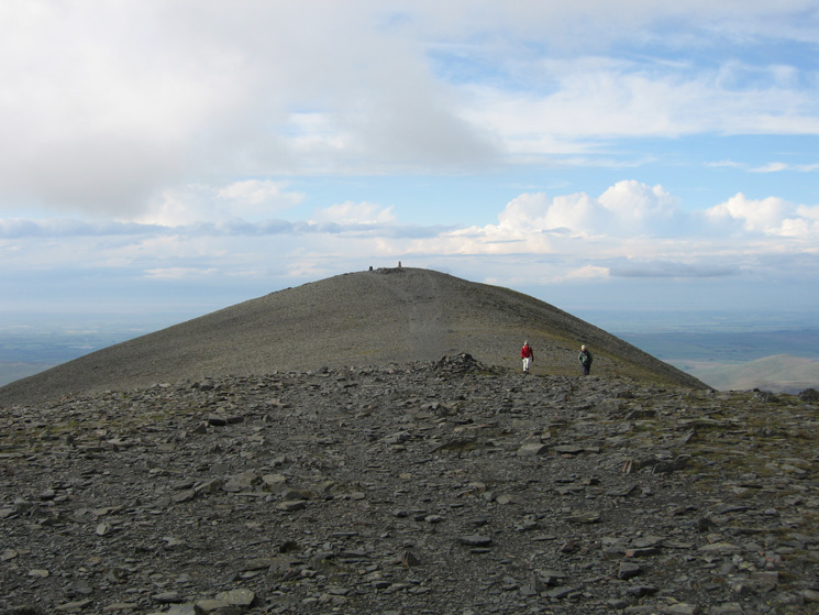 Skiddaw's summit ridge with the trig point at the other end!