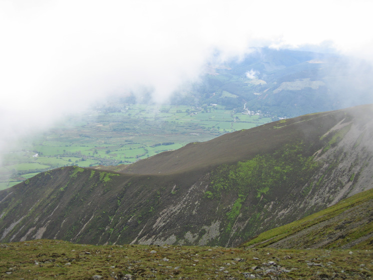 Carsleddam (left) and the Vale of Keswick far below