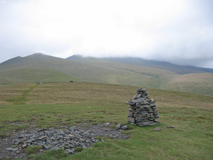 Looking back to Skiddaw Little Man (left) and Skiddaw (still in cloud) from Lonscale Fell's new summit cairn