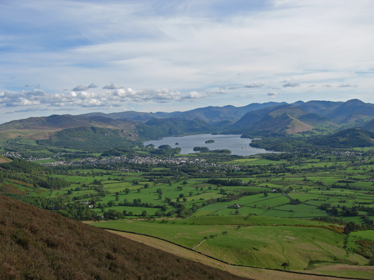 Keswick, Derwent Water and the central fells from the ascent