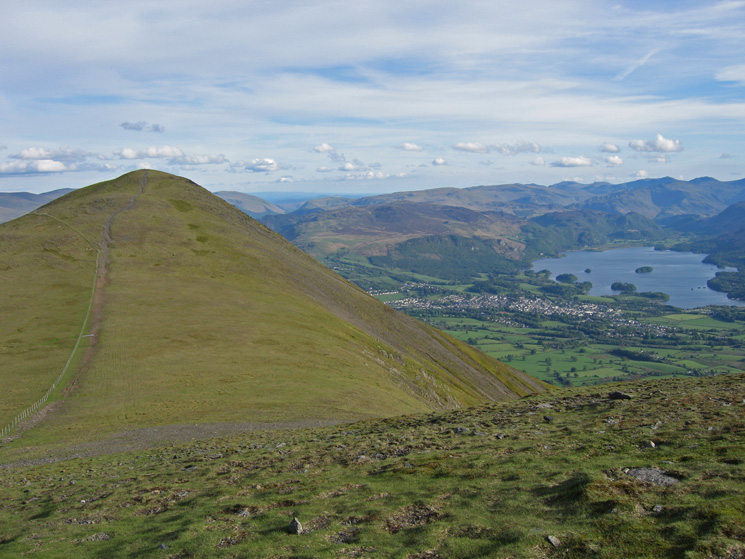Skiddaw Little Man and Derwent Water from the path up Skiddaw
