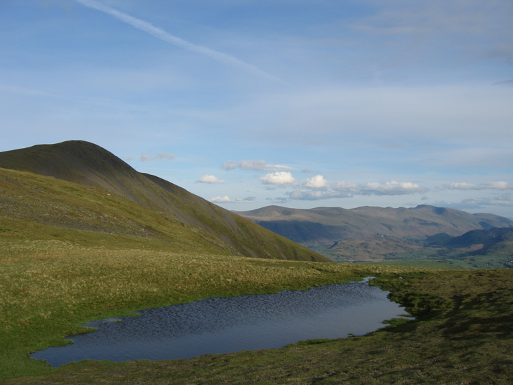 Skiddaw Little Man and the Helvellyn ridge from Carlside Tarn